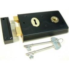 """70mm Rim Lock 5.5"""" x 3"""" Black"""